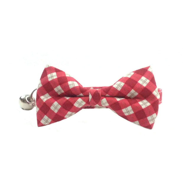 Red Christmas Gingham Check Cat Bow Tie Collar