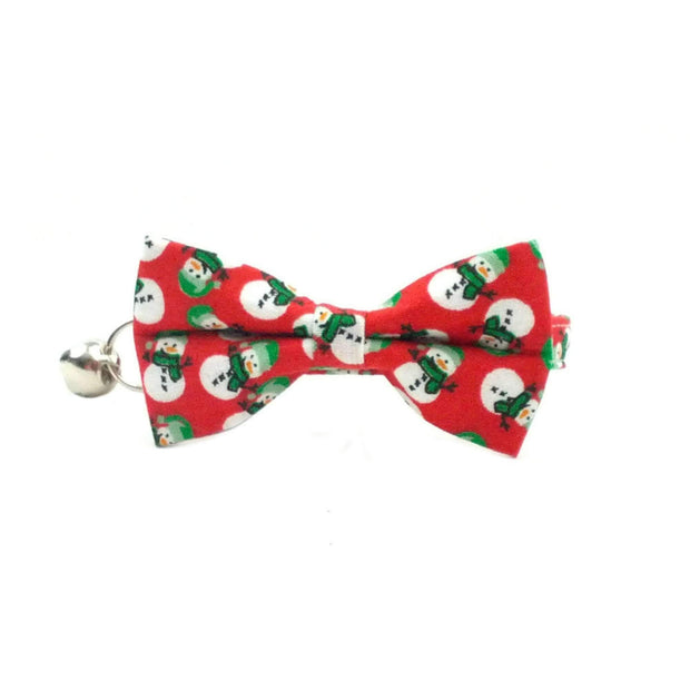 Red Snowman Christmas Cat Bow Tie Collar