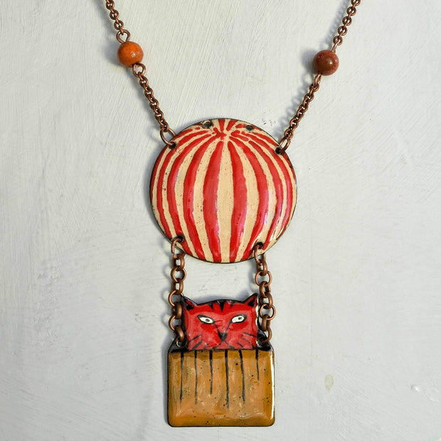 Red cat in hot air balloon necklace