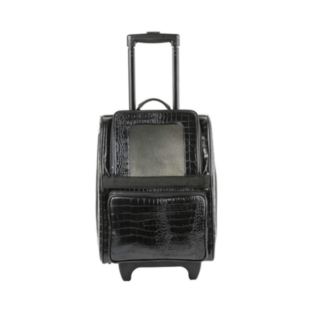 Rio Classic Bag On Wheels In Black Croc Faux Leather