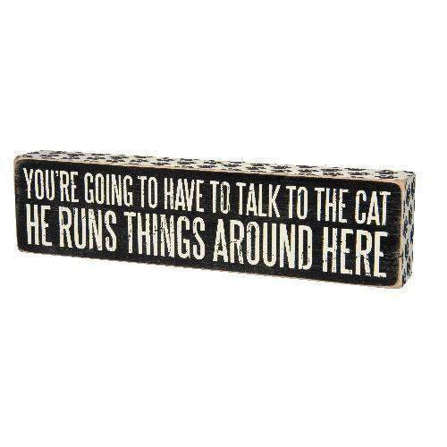 talk to the cat box sign