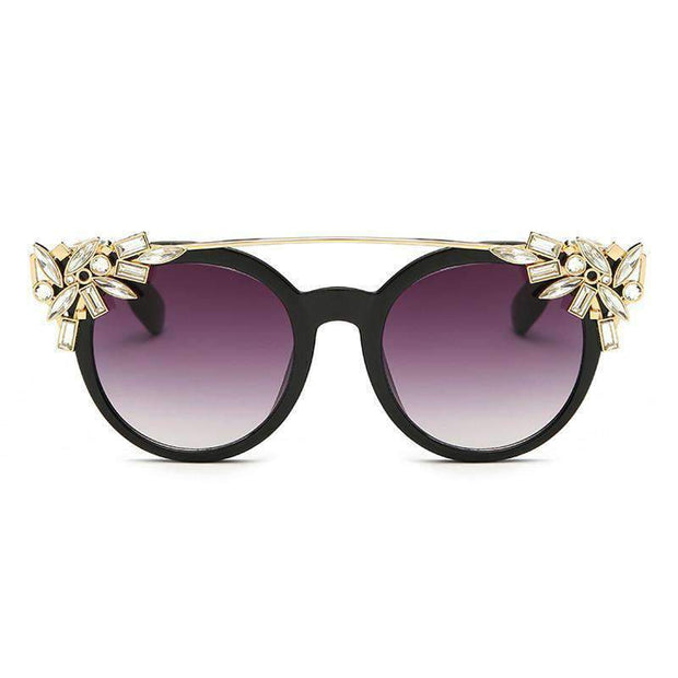 Vintage Crystal Frame Flat Top Sunglasses