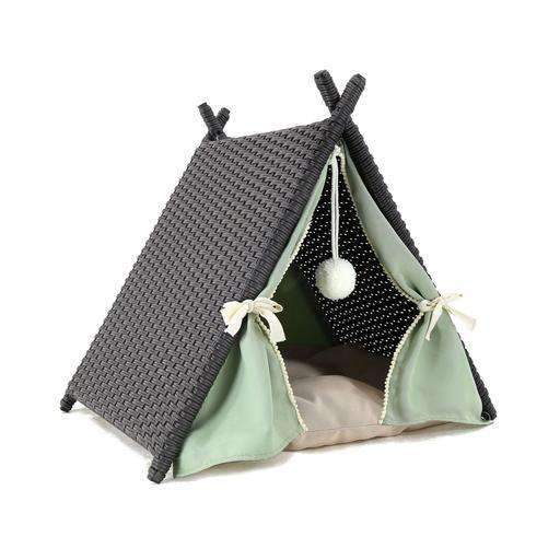 Wicker Teepee pet bed with cushion