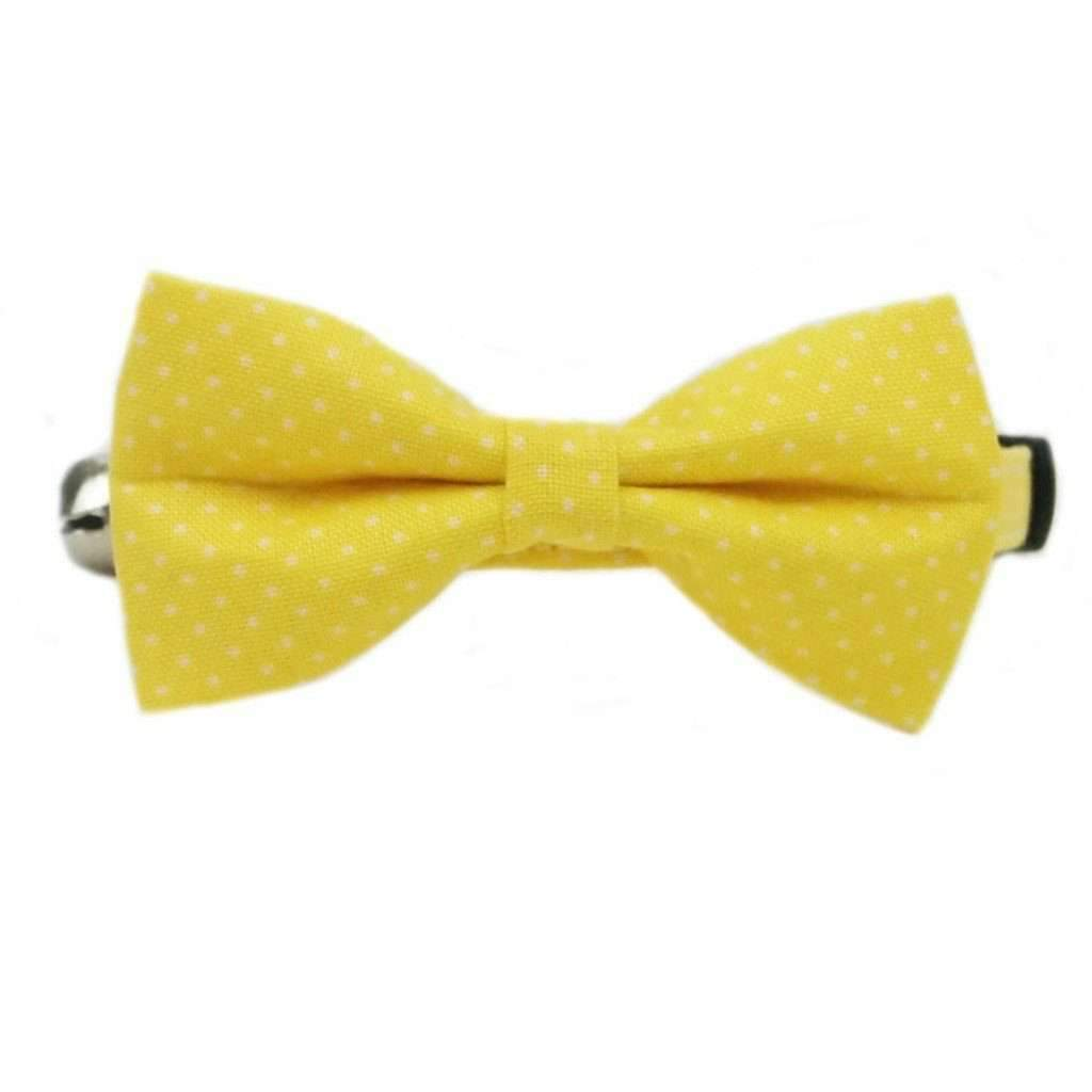 yellow mini polka dots bow tie cat collar