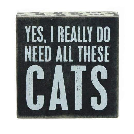 yes I really do need all these cats box sign in black