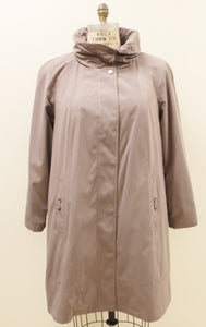 Women's Coated Polyester A-line Raincoat with Back Pleat