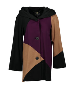 Women's Multi-Colored A-Line Coat