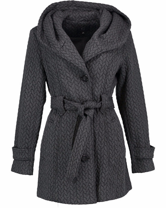 Women's Belted Hooded Fleece Jacket