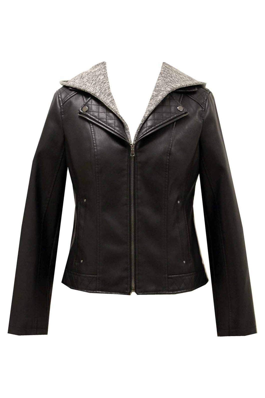 Women's Plus Leather Look PU 2-in-1 Jacket