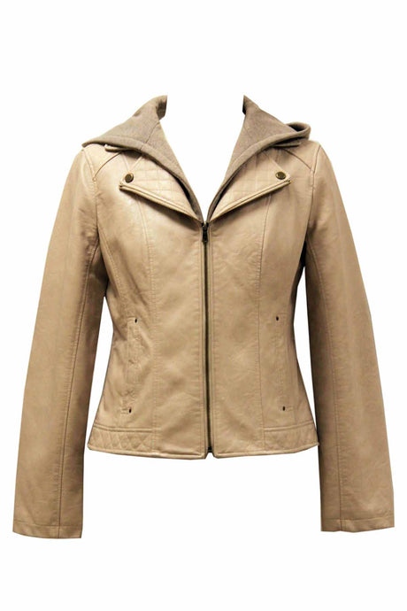 Leather Look PU 2-in-1 Jacket