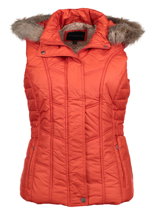Ladies Puffer Vest With Detachable Faux Fur Hood