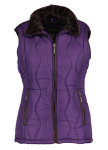Ladies Swirl Quilted Vest With Faux Fur Lining