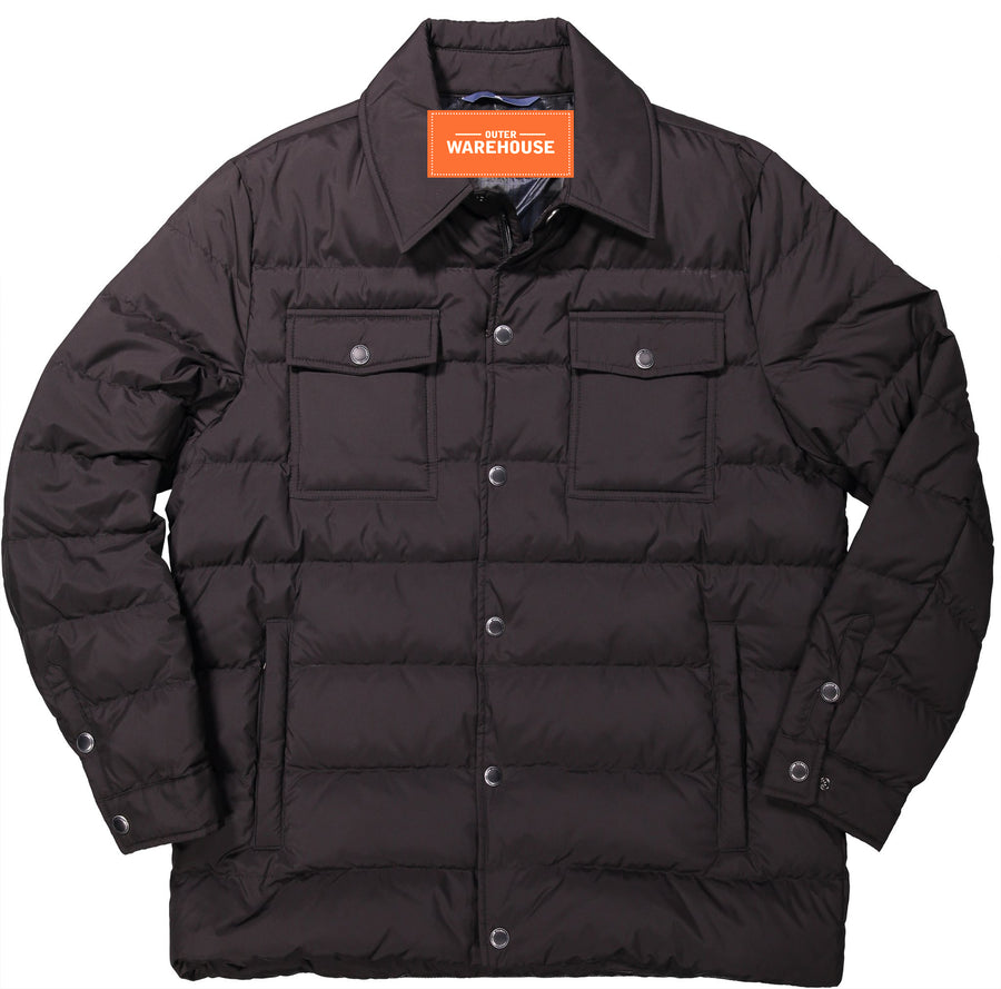 Men's Down Quilted Utility CPO Shirt Jacket