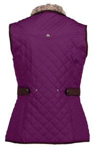 Ladies Quilted Vest With Luxe Faux Fur Lining and Faux Suede Piping