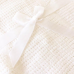 Cotton Knit Blanket - White