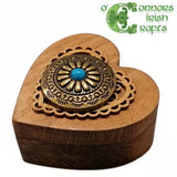O'Connors Wooden Heart Shaped Trinket / Jewellery Ring Box No.2