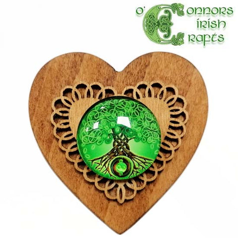 O'Connors Irish Wooden Heart Shaped Trinket / Jewellery Ring Box Tree of Life No.3