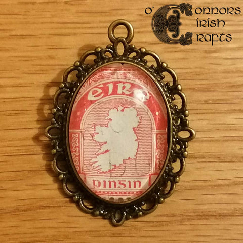 O'Connors Irish / Eire Map of Ireland 1 Penny Stamp Red 1922-23 Pendant