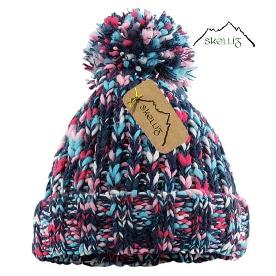 Skellig Bobble Pom Pom Warm Beanie Hat Cold Winter Weather Multi-Coloured