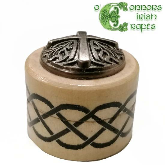 O'Connors Irish Celtic Ring Trinket Jewellery Wooden Box Pot Beech wood