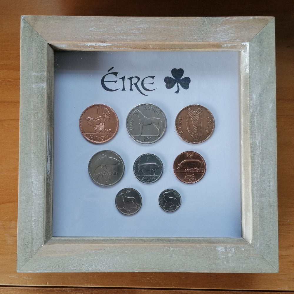 Republic of Ireland Pre-Decimal set of Eire / Irish Coins Mounted