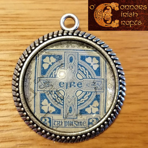 O'Connors Irish / Eire Celtic Cross 3 Penny Stamp Blue 1922-23 Round Pendant 30mm