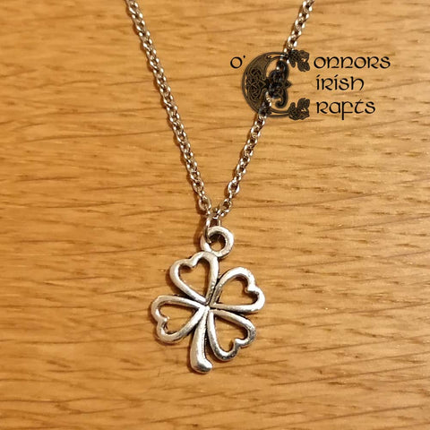 Irish Celtic Four Leaf Clover Pendant / Necklace