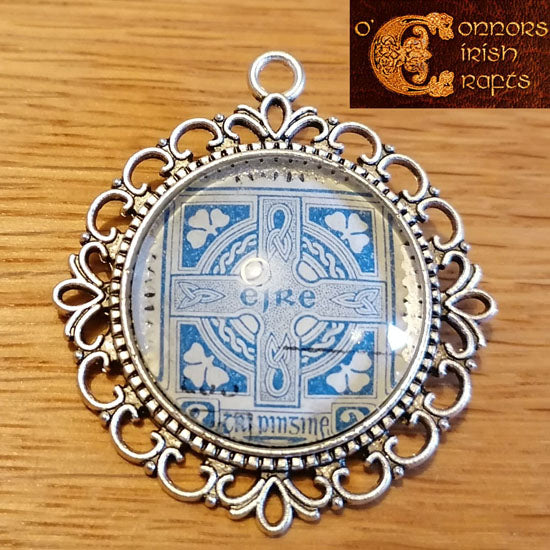O'Connors Irish / Eire Celtic Cross 3 Penny Stamp Blue 1922-23 Round Ornate Pendant 30mm