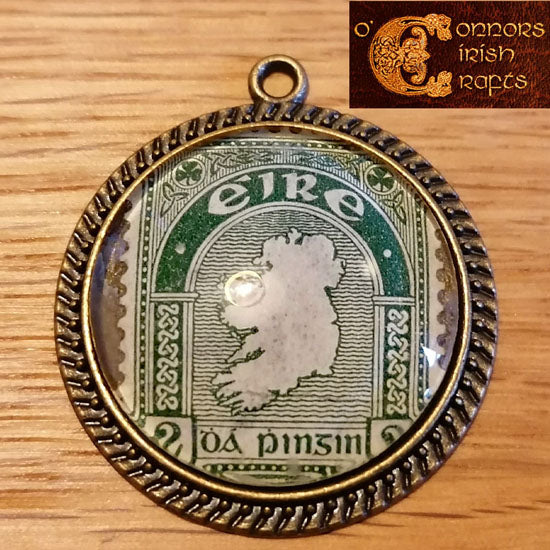 O'Connors Irish / Eire Map of Ireland 2 Penny 2d Stamp Green 1922-23 Pendant 30mm