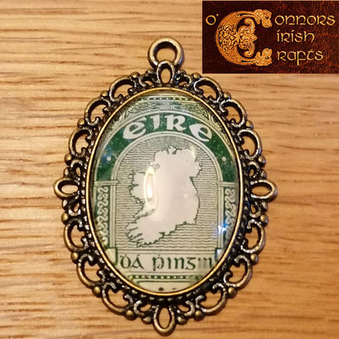 O'Connors Irish / Eire Map of Ireland 2 Penny 2d Stamp Green 1922-23 Pendant