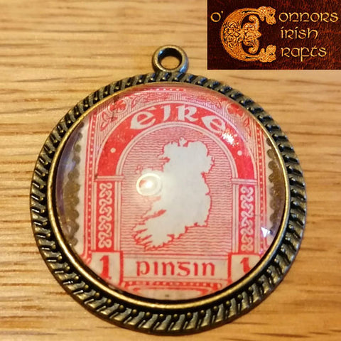 O'Connors Irish / Eire Map of Ireland 1 Penny 1d Stamp Red 1922-23 Pendant 30mm