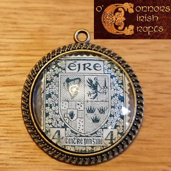 O'Connors Irish / Eire Celtic Arms of Ireland Provinces 4 Penny Stamp 1922-23 Round Pendant