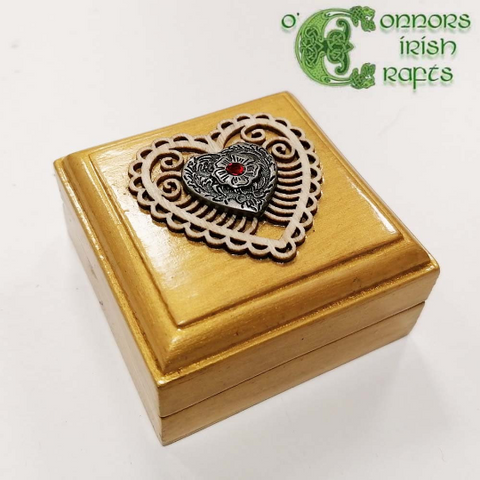 O'Connors Small Square Wooden Trinket Jewellery Box in Gold
