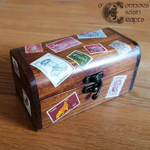 O'Connors Miniature Wooden Travel Trunk Case / Jewellery Trinket Box Irish / Eire Stamps