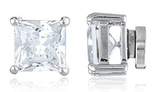 6 Pairs of Silvertone Magnetic Earrings with Clear Cz Square - 4mm to 12mm (7 Millimeters)