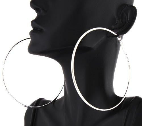 12 Pairs Of Silvertone 3 Inch Hoop Earrings