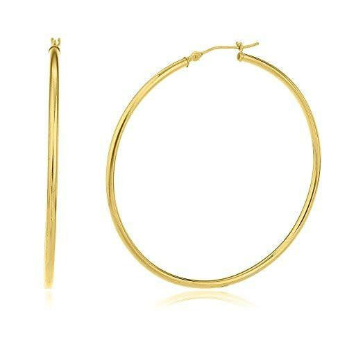 6 Pairs of 30mm 14k Yellow Gold 2mm Basic Hoop Earrings