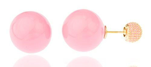 6 Pairs of Large Pink with Goldtone Mesh Back Round Simulated Pearl Stud Earrings