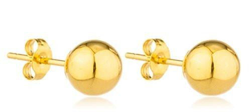 6 Pairs of 14K Yellow Gold Classic Ball Earring Studs with 14k Push Backs -2mm to 10mm Available (6 Millimeters)