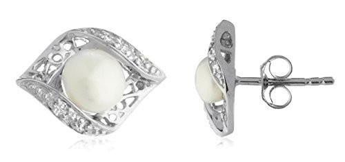 6 Pairs of Sterling Silver Stud Earrings Simulated Pearl Eye Shaped with Stones