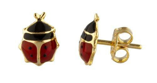 2 Pairs of 18k Gold Overlay Black with Red Ladybug Earrings - Two Year Warranty