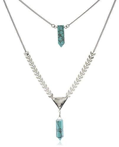 6 Pieces of Layered Double Stone Necklace (Silvertone w/ Turquoise)