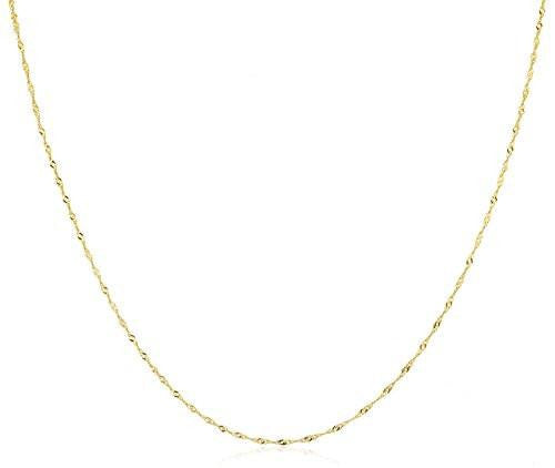 "6 Pieces of 10K Yellow Gold 1.5mm Hollow Singapore Chain Necklace - Available in 9"" - 30"" (24 Inches)"