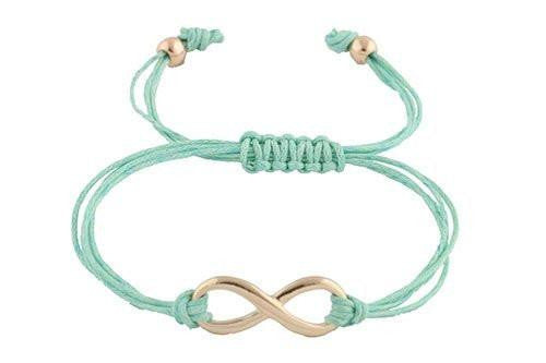 6 Pieces of 4 Pieces of Mint with Goldtone Infinity Adjustable String Bracelet