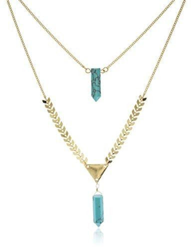 6 Pieces of Layered Double Stone Necklace (Goldtone w/ Turquoise)
