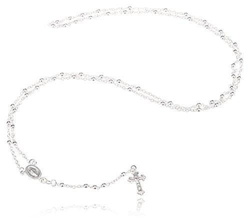 6 Pieces of 925 Sterling Silver 3mm 24 Inch Beaded Rosary Necklace with Dangling Cross