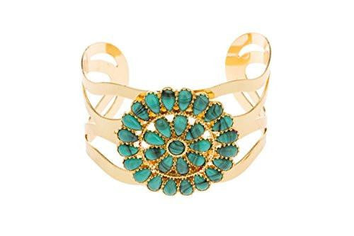 6 Pieces of Goldtone Swirl Design with Centered Turquoise Pendant Cuff Bangle Bracelet