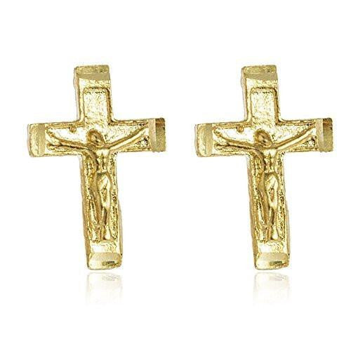 6 Pairs of Real 14k Yellow Gold Cross with Jesus Stud Earrings with a Silicone Back