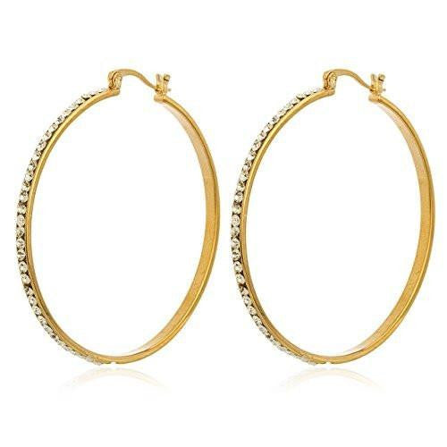 6 Pairs of Two Year Warranty Gold Overlay 3mm 1.25 Inch Hoop Earrings with Clear Stones