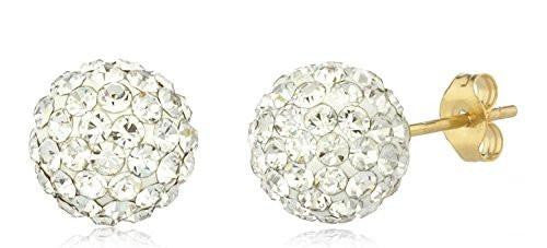 6 Pairs of 14K Yellow Gold 8mm Preciosa Crystals Stud Earrings with 14k Pushbacks - Available in Different Colors (White)